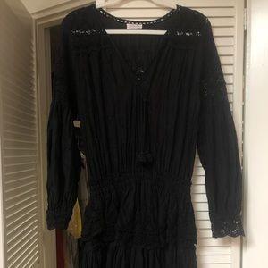 Love shack fancy black eyelet popover dress